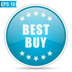 Best buy blue glossy round vector icon in eps 10. Editable modern design internet button on white background.