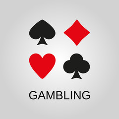 Gambling icon. Gambling symbol. Flat design. Stock - Vector illustration