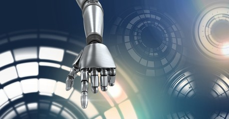 Robotic android hand and Glowing circle technology interface