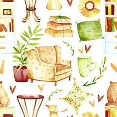 Watercolor sweet home seamless pattern. Pattern with sweet home elements.  Perfect for you postcard design, invitations, projects, wedding card, poster, packaging.