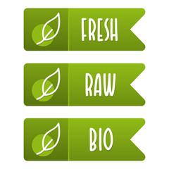 Wall Mural - Fresh, Raw and Bio vegan banner set. Eps10 Vector.