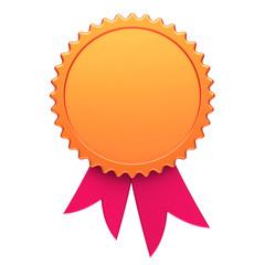 Award ribbon golden red reward medal rosette blank. Achievement best badge number one winner template design element empty. 3d illustration isolated on white