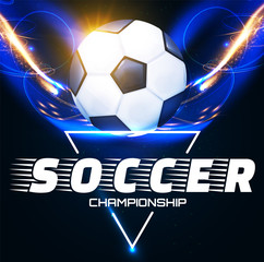 Soccer Ball with Light Effects. Football Power Design.