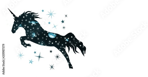 Unicorn silhouette with galaxy universe