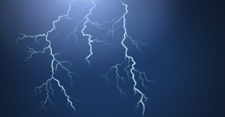 Lightning strikes and dark background