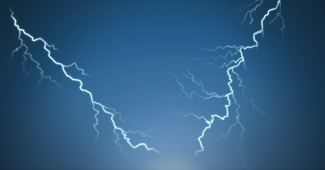 Lightning strikes and blue background