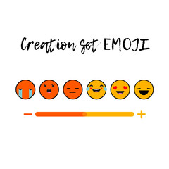 Creation set EMOJI. Set Emotions. Lettering. Cute cartoon. Vector style smile icons.