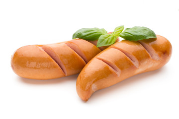 Pork sausage isolated on white background.