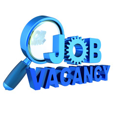Job vacancy text blue unemployment banner gear wheel under magnifying glass. Find work looking searching icon concept. 3d illustration