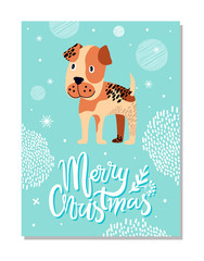 Merry Christmas Postcard with Boxer Puppy and Snowflakes