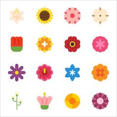 flower geometric icons vector flat design illustration set