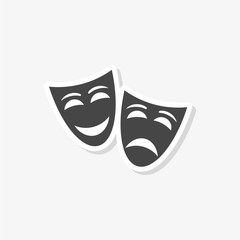 Theater mask sticker, simple vector icon