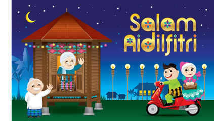 """A couple is just arrive their home town, ready to celebrate Raya festival with their parents. With village scene. The words """"Salam Aidilfitri"""" means happy Hari Raya."""