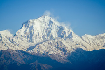 beautiful view of the landscape of the Himalayan mountains. Snow-covered mountain peaks. trekking concept in the mountains
