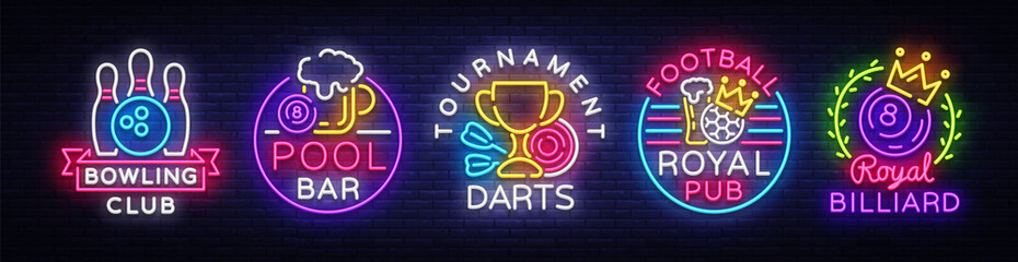 Big collection neon signs for Bowling, Darts, Billiards, Football Pub. Set Logos neon, light emblems signs and symbols, light banner, design elements, nightly vibrant advertising. Vector illustration Fotomurales