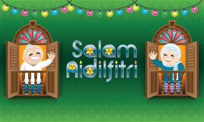 "Muslim boy and girl, old man and woman standing on a Malay style window, celebrating Raya festival. The words ""Salam Aidilfitri"" means happy Hari Raya."