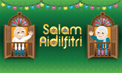 "Muslim old man and woman standing on a Malay style window, celebrating Raya festival. The words ""Salam Aidilfitri"" means happy Hari Raya."