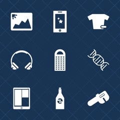 Premium set with fill icons. Such as food, paper, photography, phone, shirt, modern, headset, picture, clothes, clothing, sound, mobile, smartphone, dna, white, technology, photo, communication, drink