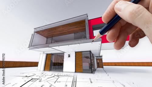Esquisse Et Plan DUne Maison Moderne DArchitecte Stock Photo And