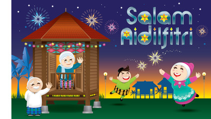 """A boy and a girl is playing with fireworks during their Raya festival celebration. With village scene. The words """"Salam Aidilfitri"""" means happy Hari Raya."""