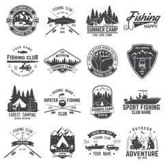 Set of fishing and camping club badge. Vector illustration.
