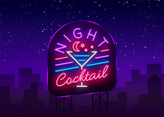 Night Cocktail is a neon sign. Cocktail Logo, Neon Style, Light Banner, Night Bright Neon Advertising for Cocktail Bar, Party, Pub. Alcohol. Vector illustration. Banner