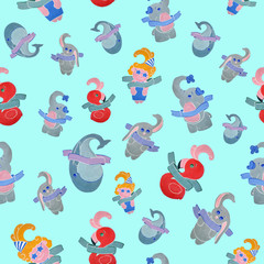 Seamless pattern for children on a mint background
