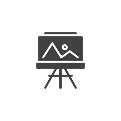 Easel with painting vector icon. filled flat sign for mobile concept and web design. Landscape picture simple solid icon. Symbol, logo illustration. Pixel perfect vector graphics