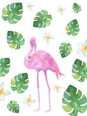 Pink watercolor flamingos.