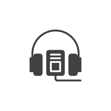 Audio guide vector icon. filled flat sign for mobile concept and web design. Headphones and mp3 player simple solid icon. Symbol, logo illustration. Pixel perfect vector graphics