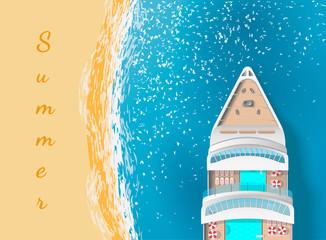 Cruise ship near the beach. top view. text summer. vector illustration