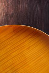 guitar soundboard on wooden background
