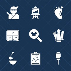 Premium set with fill icons. Such as love, king, brush, painter, weapon, drawing, child, color, lantern, spoon, picture, piece, city, dinner, game, lamp, foot, japan, art, paint, baby, female, drawer