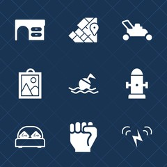 Premium set with fill icons. Such as department, sun, hydrant, notebook, concept, furniture, help, table, human, office, bed, fire, water, hand, business, work, bedroom, image, buoy, computer, double