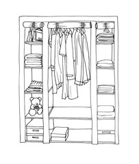 Graphic sketch of a wardrobe with shelves, hangers and clothes