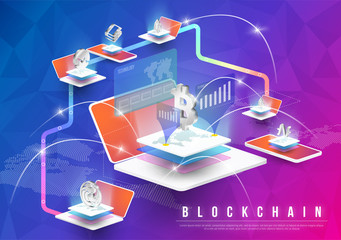 Cryptocurrency and blockchain isometric composition with Isometric phone, laptop. Smart object and smart technology design. 3d vector. analysts and managers working on blockchain start up.
