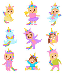 Sweet little kids in unicorn costumes set vector Illustration on a white background