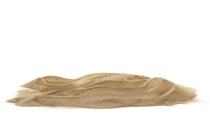 Pile desert sand dune isolated on white background