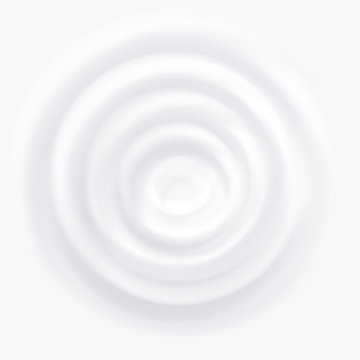 Milk Splash Vector. Cream Clean Circle Waves. Falling Drop. Realistic Illustration