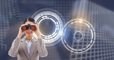Woman with binocualars and Glowing circle technology interface