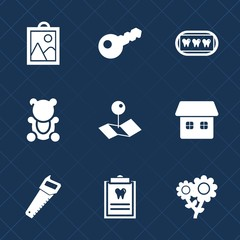 Premium set with fill icons. Such as construction, home, key, floral, white, house, fur, camera, health, fluffy, patient, mouth, flower, animal, saw, photo, security, spring, tooth, map, brown, bear