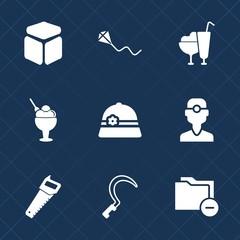 Premium set with fill icons. Such as gardening, happy, kid, joy, saw, cap, strawberry, folder, cube, childhood, vanilla, sign, garden, summer, leisure, food, dental, white, kite, fun, hat, document