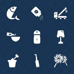 Premium set with fill icons. Such as pepper, spice, drink, dental, electric, play, sea, care, table, dinner, seasoning, glass, white, animal, interior, accident, lollipop, powder, baby, child, fish
