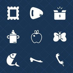 Premium set with fill icons. Such as music, photo, fruit, pack, cardboard, package, insect, healthy, plastic, communication, milk, picture, phone, guitar, fish, footwear, art, beauty, carton, food