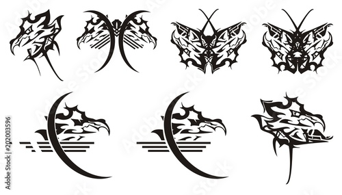 Dragon Head Symbols And Butterflies From It Tribal Aggressive Head
