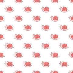 Seamless pattern of cartoon snail
