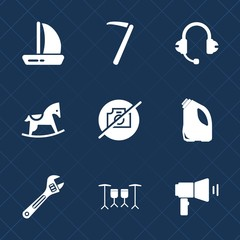 Premium set with fill icons. Such as microphone, screwdriver, sea, sign, sail, wood, picture, boat, toy, wooden, wrench, rocking, no, work, sound, sailboat, spanner, cute, camera, kid, construction