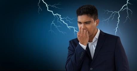 Lightning strikes and scared afraid man