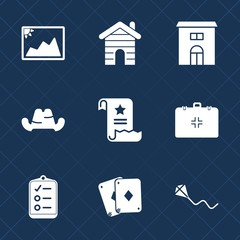 Premium set with fill icons. Such as kite, business, list, baseball, joy, medical, sky, estate, game, fashion, construction, old, check, building, architecture, file, poker, summer, cap, style, home