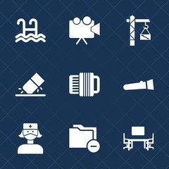 Premium set with fill icons. Such as flashlight, health, desk, projection, projector, swim, file, white, pool, business, night, care, saw, light, lamp, work, accordion, equipment, medical, office